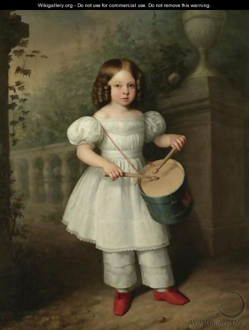 Nina Tocando El Tambor (Girl Playing A Drum) - Antonio Maria Esquivel Suarez de Urbina