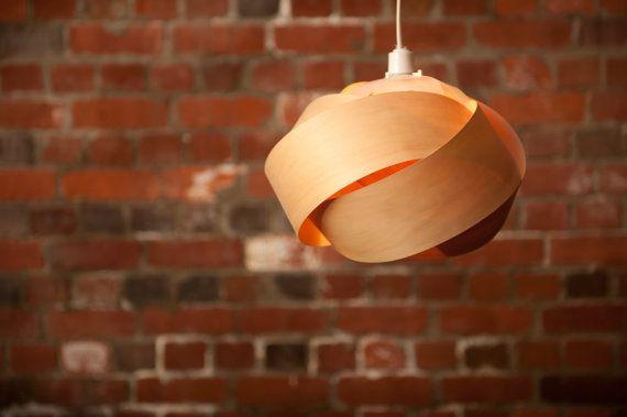 Wood veneer pendant light shade  Rose by Minnowlighting on Etsy, $250.00