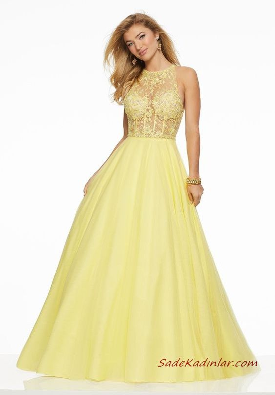 c0f49e24c813e Abiye Elbise Modelleri Sarı Uzun Kolsuz Transparan Yaka Kabarık Etekli  #moda #fashion #fashionblogger #eveninggowns #eveningdresses #promdresses  #partydress ...