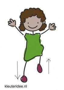 Bewegingskaart voor kleuters, één voet omhoog, één naar beneden, kleuteridee.nl, free printable moving cards for preschool