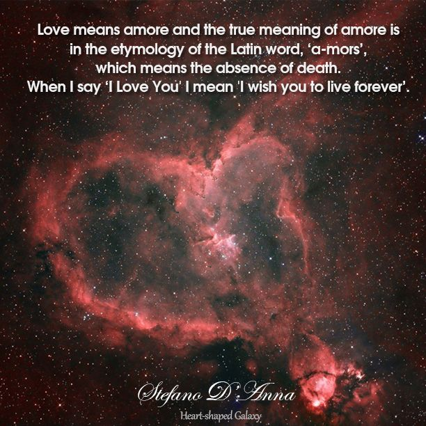 It is the most beautiful explanation of love.  What do I really mean when I say 'I love you' ...  by Stefano D'Anna   - Heart shaped Galaxy -
