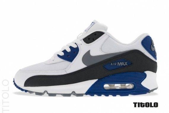 Nike Air Max 90 Essential - White - Classic Grey - Deep Royal Blue -  SneakerNews.com