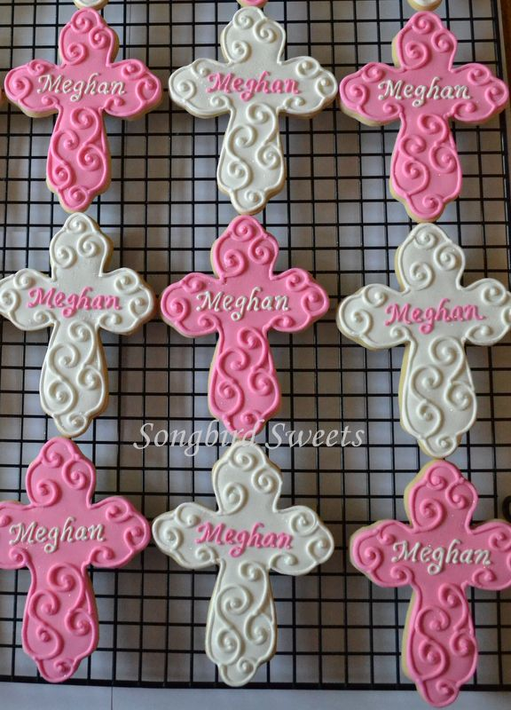 Personalized Cross Cookies for a 1st Communion