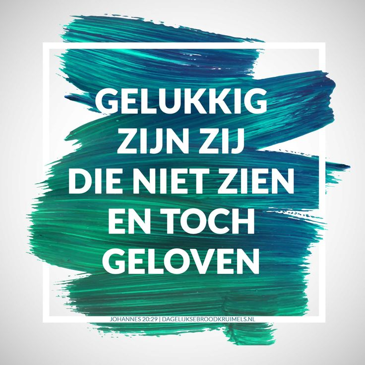 Gelukkig zijn zij die niet zien en toch geloven. Johannes 20:29    http://www.dagelijksebroodkruimels.nl/johannes-20-29/