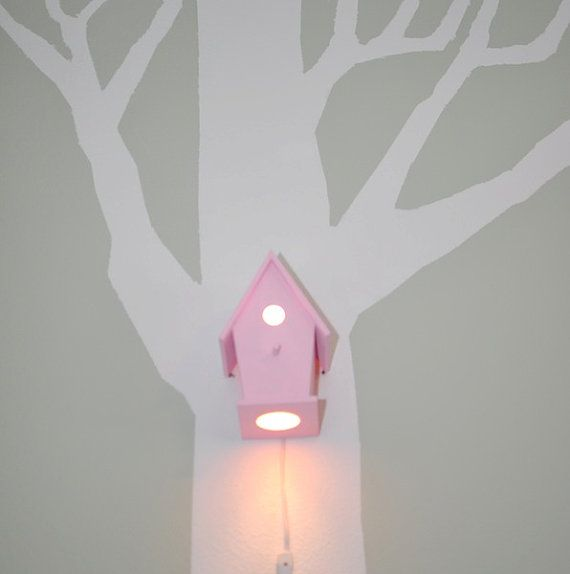 Avery in XOXO Pink Modern Birdhouse Lamp for Baby Girl Nursery Shabby Chic on Etsy, Sold