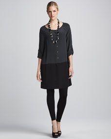 Silk Colorblock Tunic & Viscose Jersey Leggings, Womens