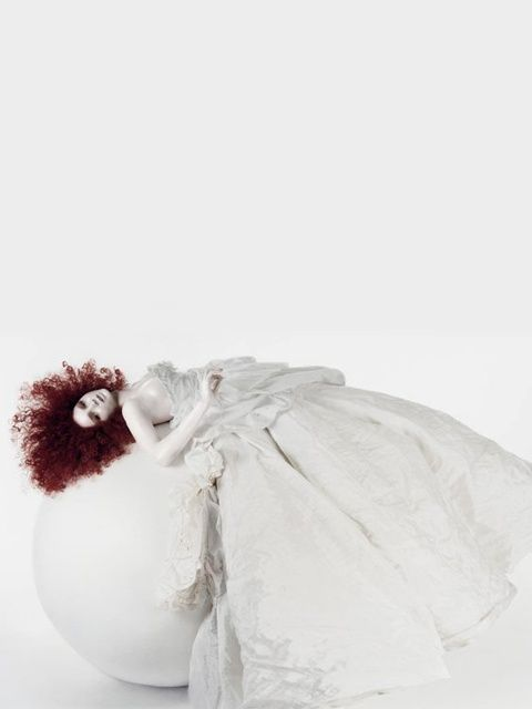All white fashion photography with fiery red hair // Ph. Lily Cole by Solve Sundsbo