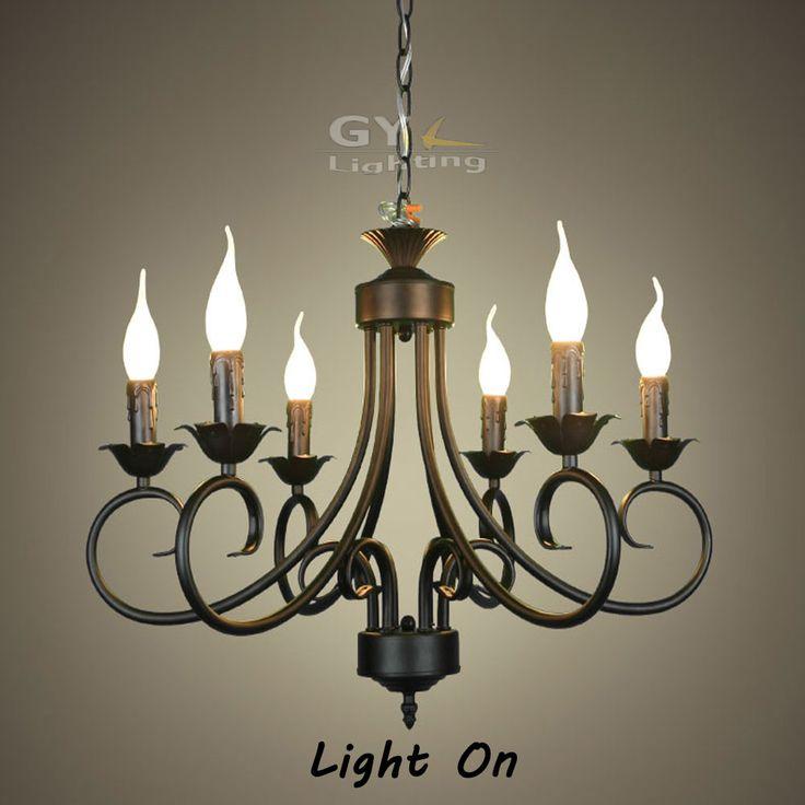 Barato AC100 240V 62*40 cm 6 pcs E14 vela luminárias lustre de Ferro Forjado…