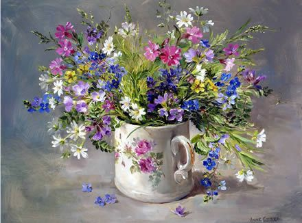 Wild Flowers in a Victorian Mug | Mill House Fine Art – Publishers of Anne Cotterill Flower Art