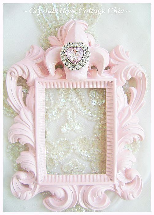 Shabby Pink Fleur De Lis Frame with Pink by sweetlilboutique, $11.99