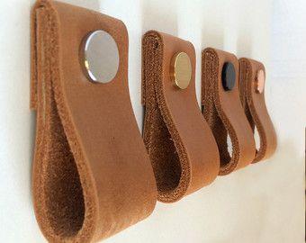 Leder zieht / Griffe Leder / Leder-Kabinett-Hardware / Leder Schublade zieht / Leder Schrank Griff / Upgrade-IKEA Schrank von Rowzec