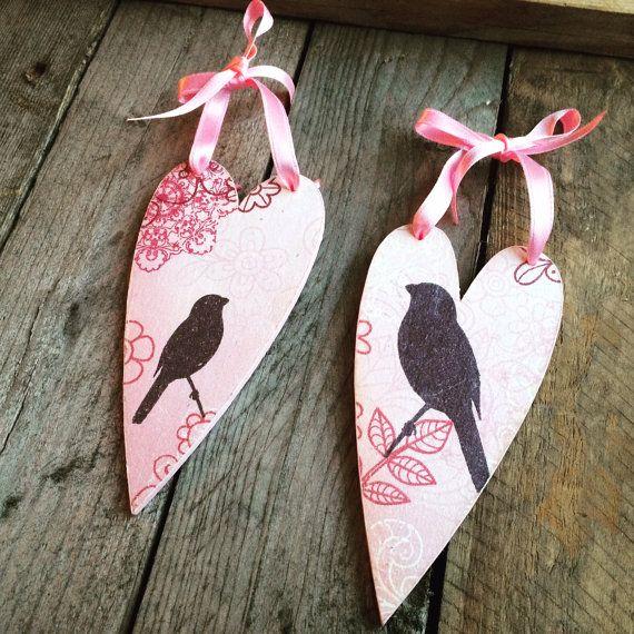 Деревянные сердца техника декупаж птицы от DumontsHandicrafts