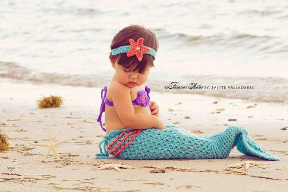 Newborn Mermaid Tail and Accessories with by MadhatterknitsCo, $35.00