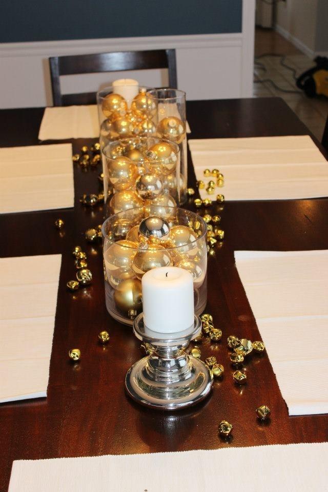Dining room table christmas decor christmas pinterest for Christmas centerpieces for dining room table