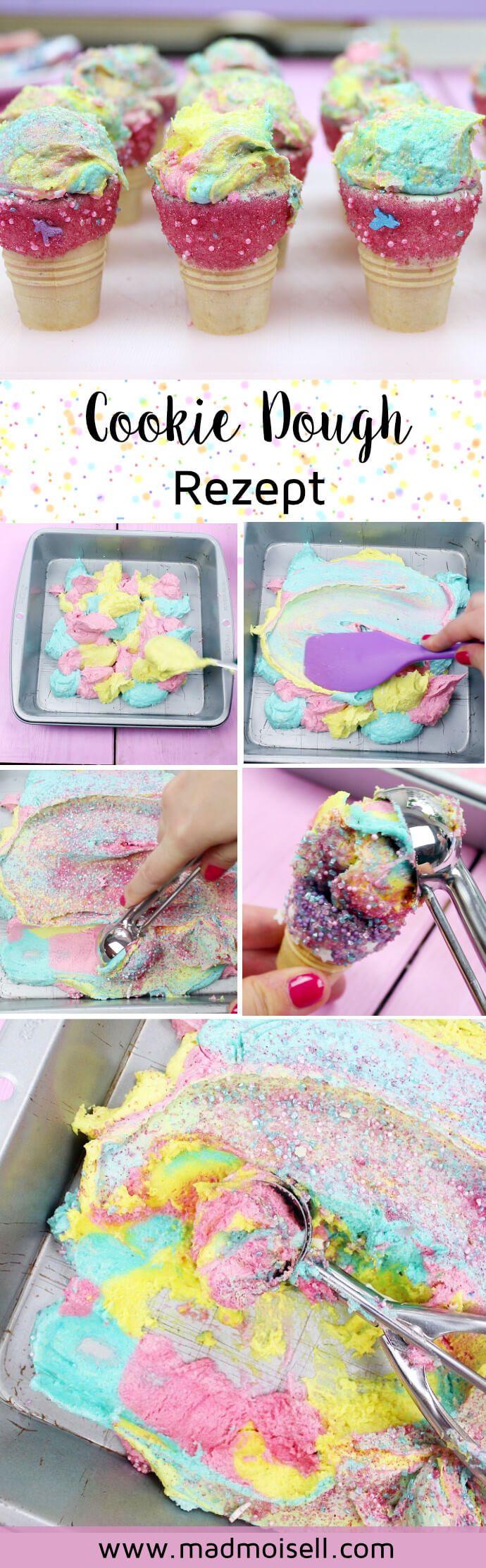 Einhorn Cookie Dough (roher Keksteig) selber machen – Einfaches DIY Rezept für deine nächste Einhorn Party oder farbenfrohe Geburtstage!