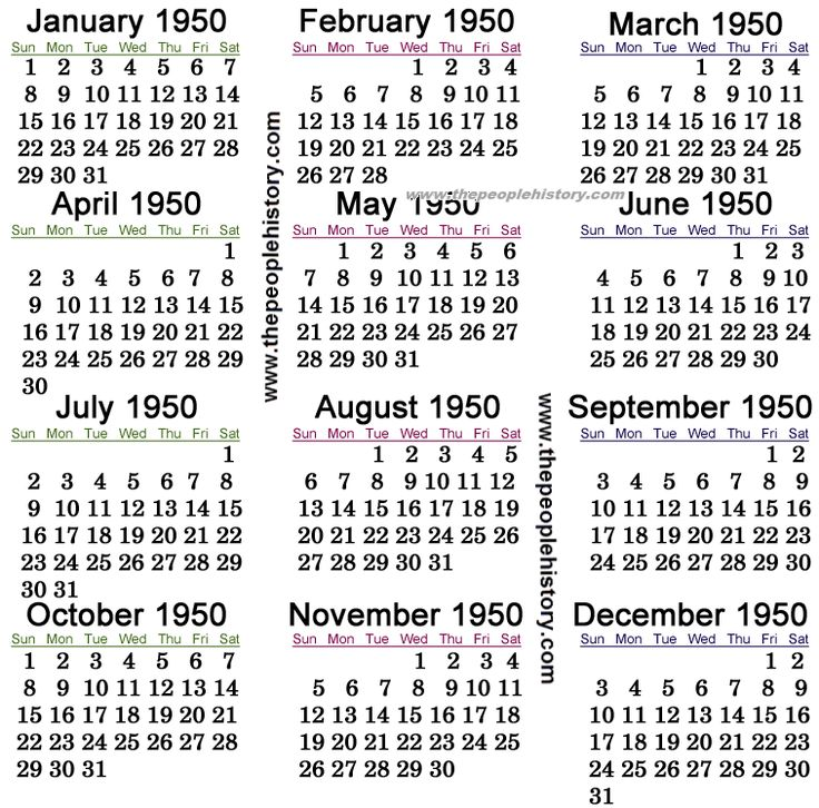 1950 Calendar 1950 70th Birthday Parties Yearly