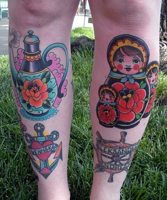 I like the matryoshka doll tattoos-the colors in folk art translate really well into tattoos