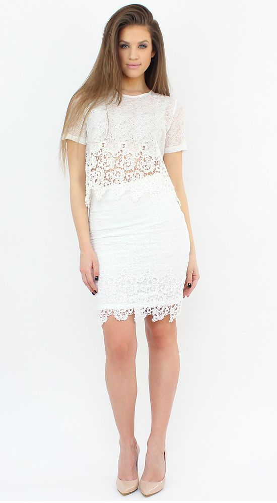 White Lace Pencil Skirt with a refined and elegant touch.  #shopping #skirt #pencil #lace #fashion #style
