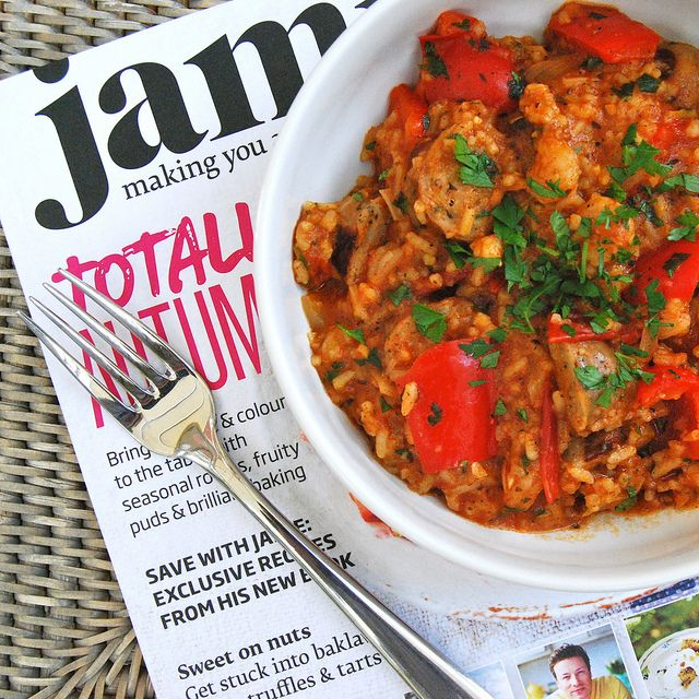 Student Suppers for Jamie's Money Saving Meals: One Pot Leftover Sausage & Prawn Jambalaya