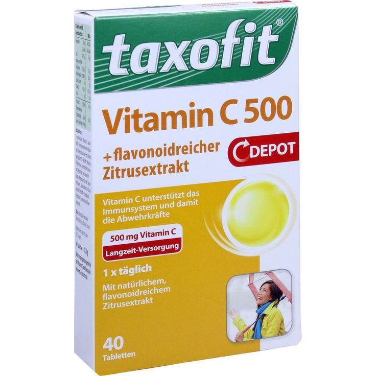 TAXOFIT Vitamin C 500 Depot Tabletten:   Packungsinhalt: 40 St Tabletten PZN: 03927588 Hersteller: MCM KLOSTERFRAU Vertr. GmbH Preis:…