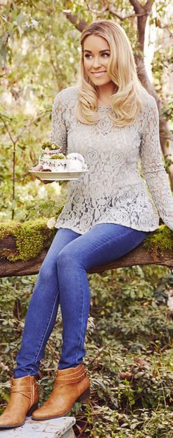 Who made  Lauren Conrad's brown boots, skinny blue jeans, and gray lace top?