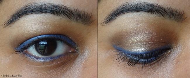Light brown eye make-up with blue eyeliner