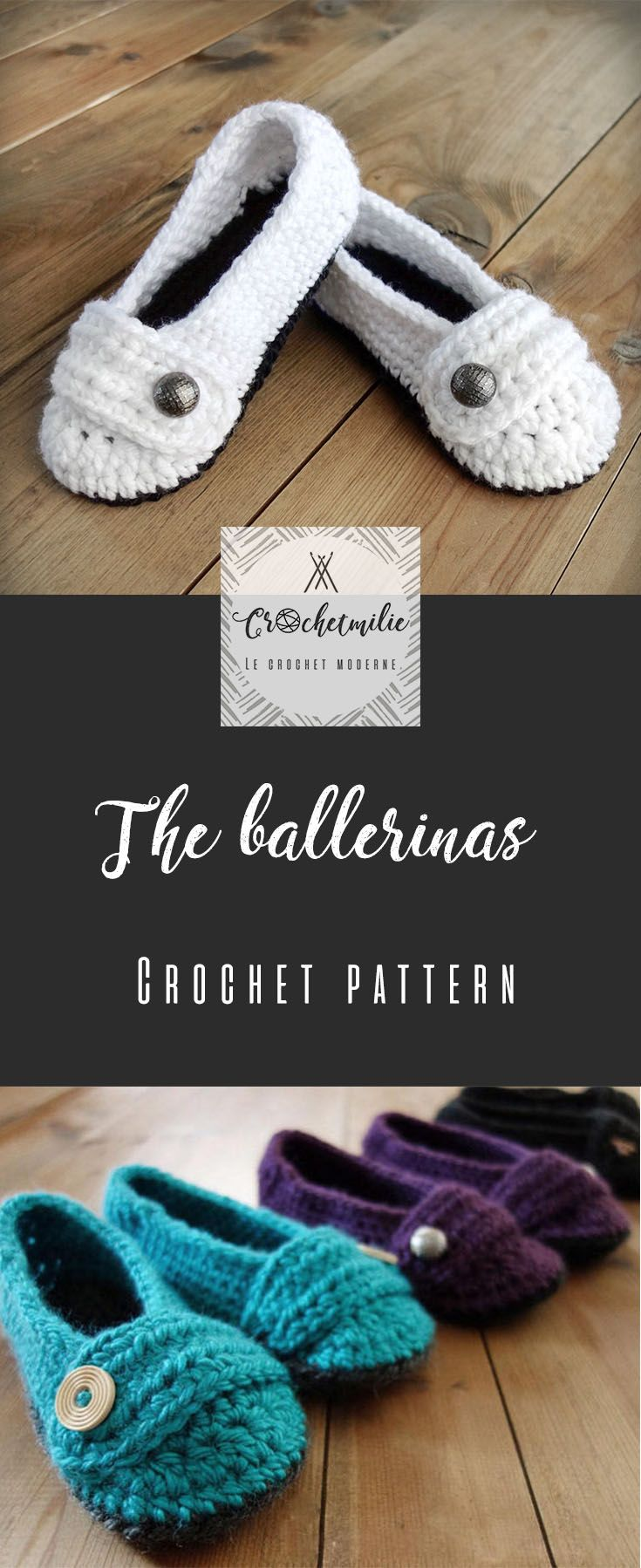 CROCHET PATTERN - The ballerinas from CROCHETMILIE - Cute women slippers with buttons