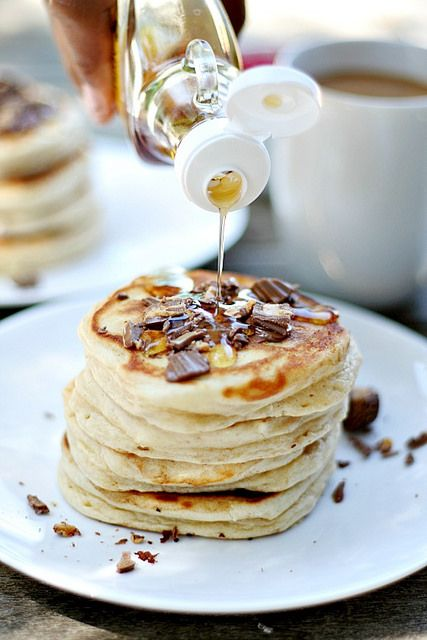 Peanut Butter Pancakes loaded with Reese's Peanut Butter Cup Minis by Heather| French Press, via Flickr