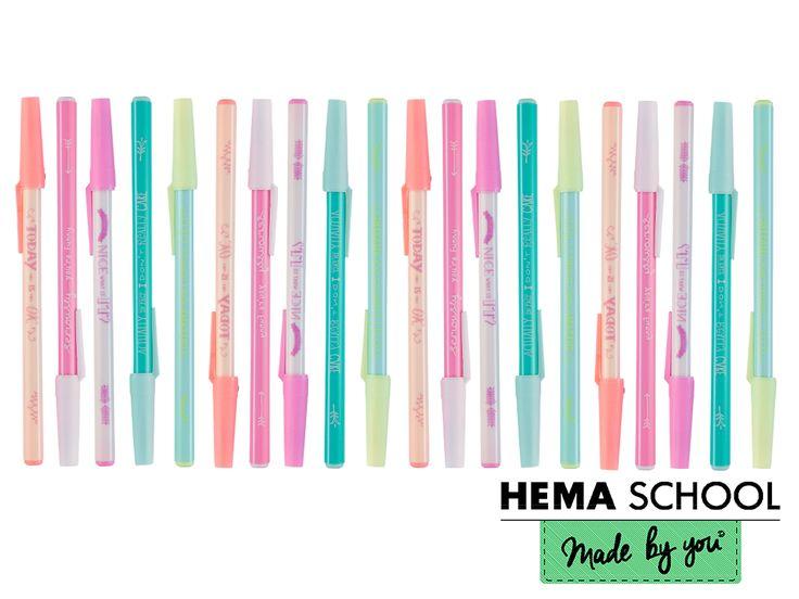 De hele dag krabbelen of schetsen in je schoolschriften met deze leuke pennen van HEMA.