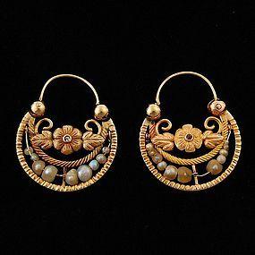 Antique Mexican Gold Hoop Earrings