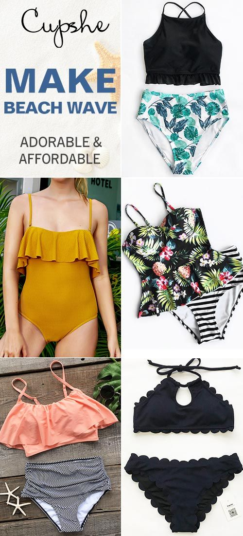 Make Beach Wave~ Chic and cute falbala design, one of the hot-selling collection in Cupshe. You won't want to miss it! Add some wave to your beach holiday~ Free shipping & Shop Now!