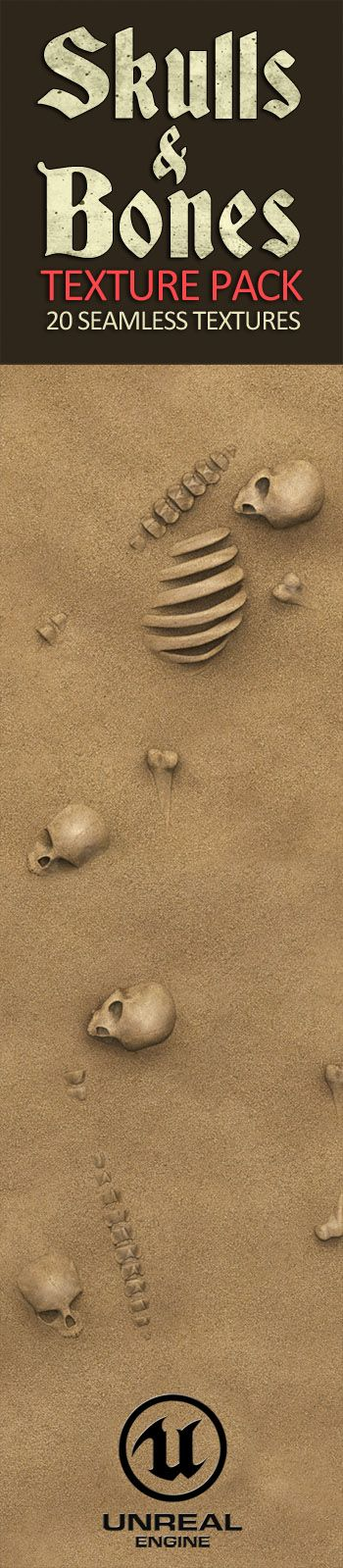 Skulls and Bones Textures for Unreal Engine 4. 20 Seamless Textures and Materials. Skulls and Bones combined with mud, sand, water, snow and rocks. 2D 3D game textures for Unreal Engine Game Asset. PBR sculpted textures.