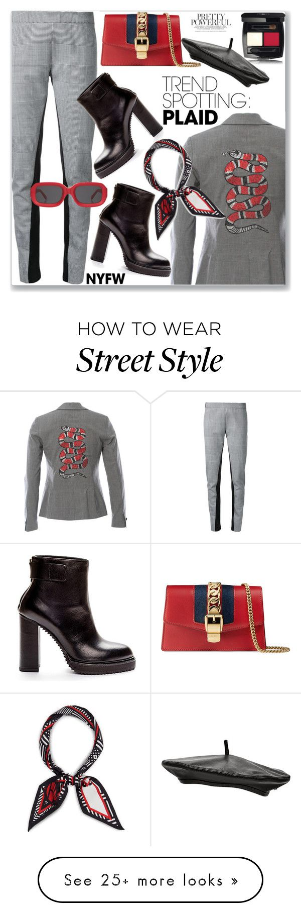 """NYFW Trend Spotting: Plaid (Street Style)"" by jecakns on Polyvore featuring Gareth Pugh, Hipchik, Gucci, Henri Bendel and Witchery"