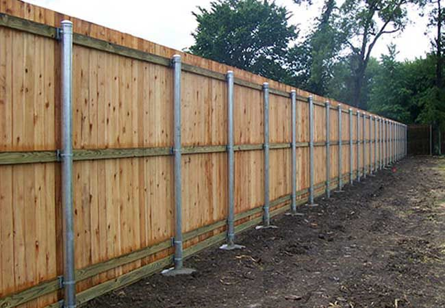 Wood Fence Post Metal Wood Fence Design Metal Fence Posts Fence Landscaping