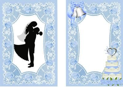 SWEPT OFF MY FEET SILHOUETTE IN BLUE LACE on Craftsuprint designed by Nick Bowley - HE SWEPT ME OFF MY FEET! WEDDING SILHOUETTE ON BLUE LACE A5 INSERT , Makes a pretty wedding card, lots of other designs to see, also matching A5 - Now available for download!