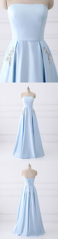 Strapless simple long prom dresses with pocket,sky blue bridesmaid dresses,cheap prom dresses,2018 prom dress #sheergirl #shortpromdresses