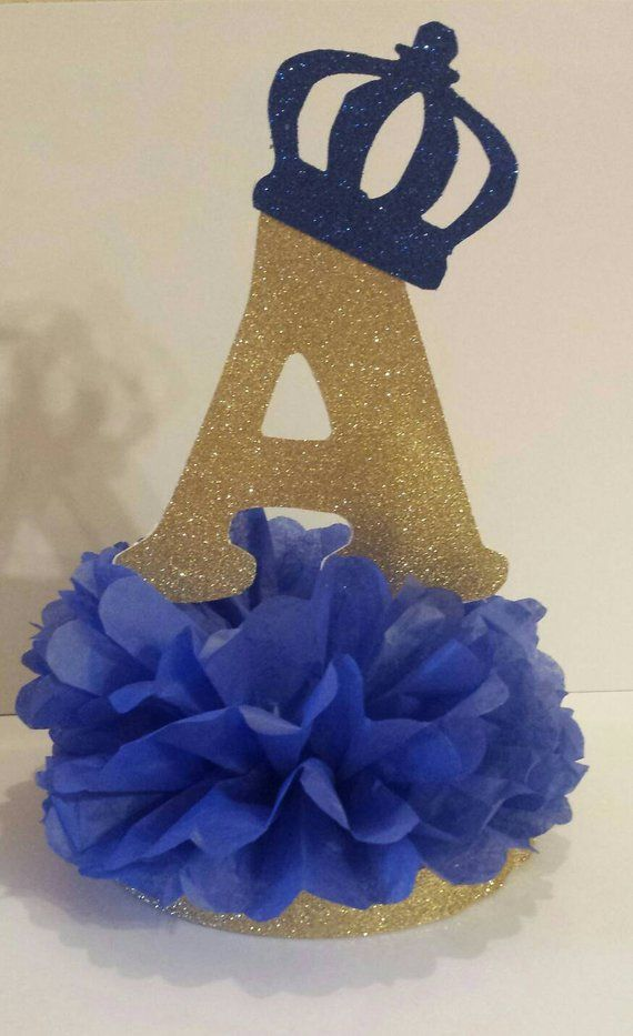 Little Prince or Princess Initial Crown Glitter Centerpiece Gold Royal Blue 1st Birthday Party or Baby shower Table decor You pick colors