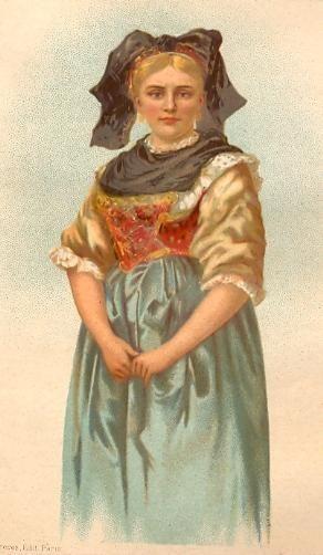 ALSACIENNE, France, Alsace, costumes, gravures anciennes, estamp