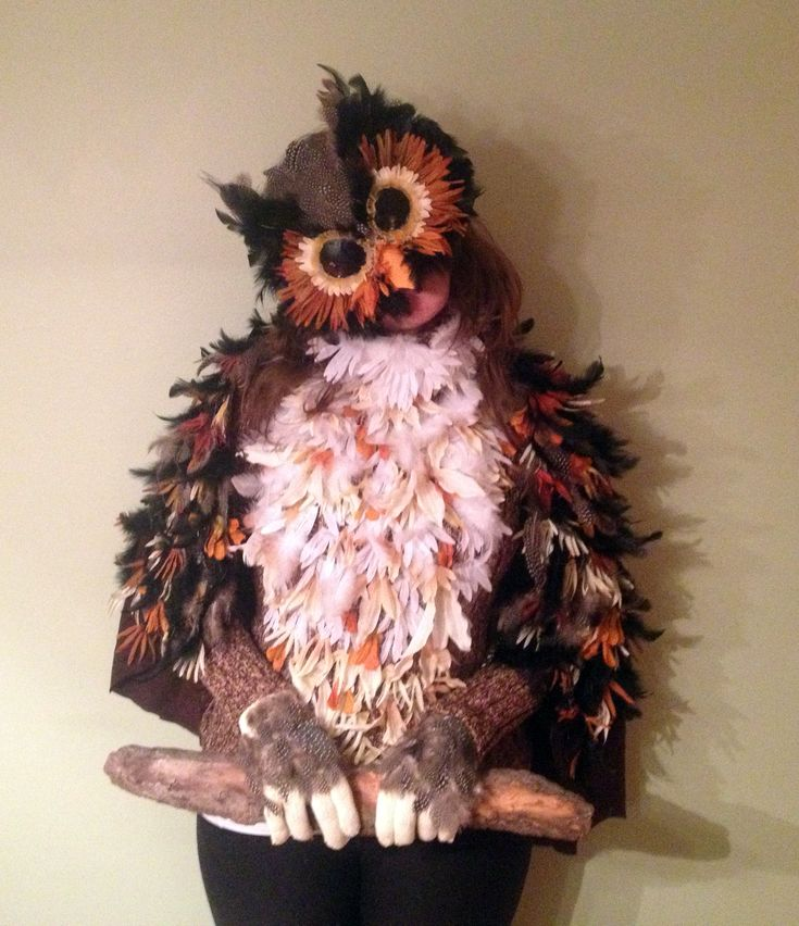 This is my halloween costume this year - a Great Horned Owl -  which took a day to make. Supplies needed: Cat mask, old sweater, pair of gloves. feathers, sunglasses, flowers, and loads of hot glue. No sewing required. Great DIY if you want something more exciting and fun than a clown or witch.  I got so many comments and compliments from this costume, and won the local halloween costume contest. Worth the time!