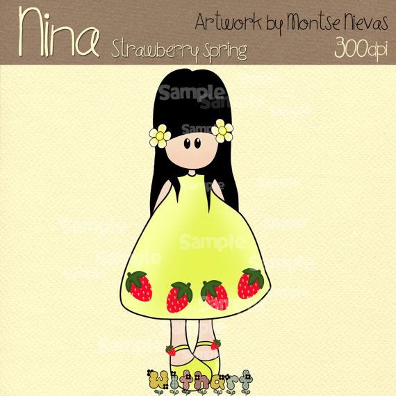 Strawberry spring Nina dolls 0229 digital clip art set by Withart, $2.99
