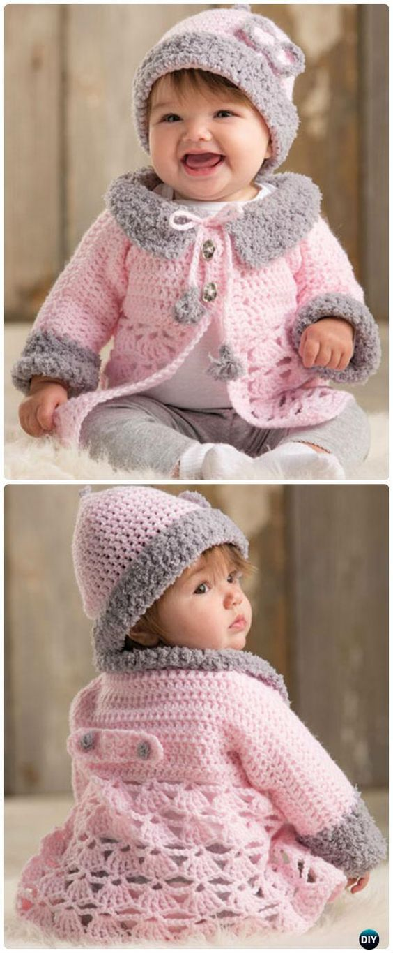 Crochet Modern Baby Sweater Cardigan Pattern - Crochet Kid's Sweater Coat Free Patterns