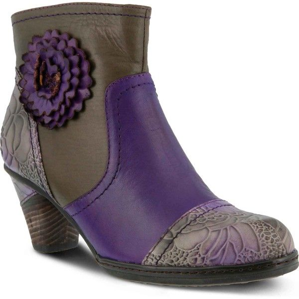 Spring Step Women's Neske Purple Multi Boots ($150) ❤ liked on Polyvore featuring shoes, boots, pull on boots, purple ankle boots, bootie boots, pull on ankle boots and zip ankle boots