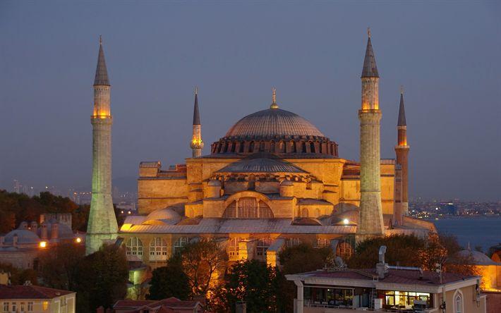 Télécharger fonds d'écran La Mosquée bleue, le soir, à Istanbul, en Turquie, le tourisme, voyages