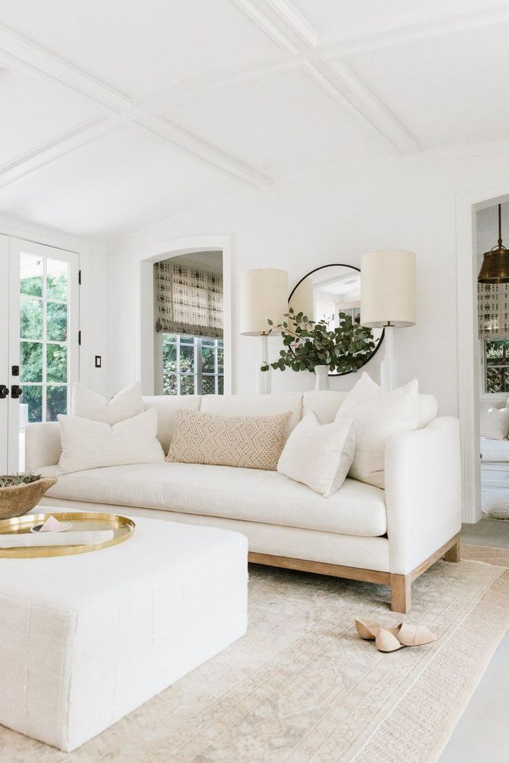 Erin Fetherston white living room with California farmhouse style