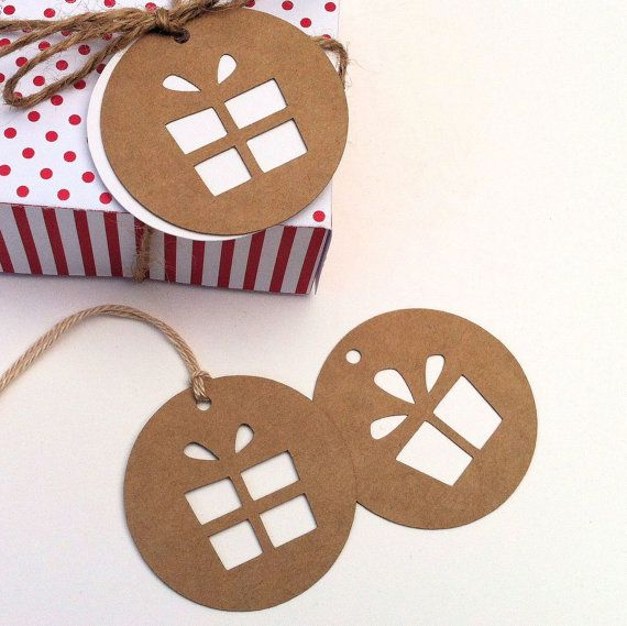 "Present gift tags. Natural brown kraft and white. 2"" swing tags/hanging gift tags. Christmas, birthday gifts, corporate gifts, teacher gifts, thank you gifts."