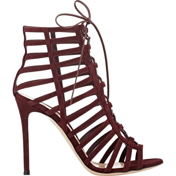 Gianvito Rossi Caged Lace-Up Sandals (20 450 ZAR) ❤ liked on Polyvore featuring shoes, sandals, heels, colorless, lace up shoes, clear heel sandals, clear heel shoes, leather sole sandals and caged heel sandals