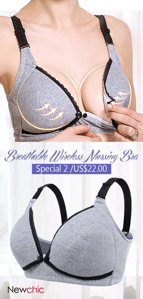 1722e8d55e Soft Cotton Front Button Breathable Wireless Maternity Nursing Bra in 2018