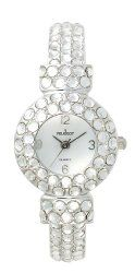 Peugeot Women's 326CL Silver-Tone Full Clear Crystal Glitz Cuff Watch
