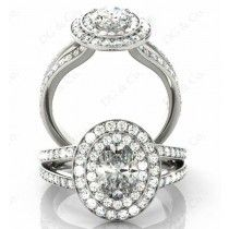 Brilliant Cut Double Halo Diamond Engagement ring with claw set centre stone