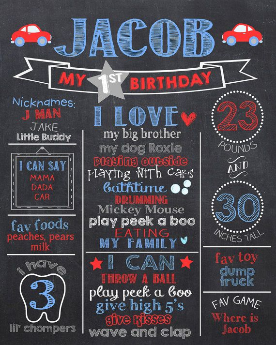 First Birthday Chalkboard Blue Grey and Red by PrincessSnap